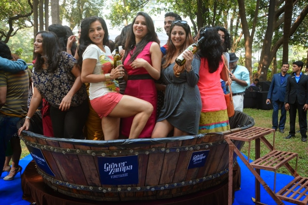 Grape stomping in India, nashik at Grover Zampa festival