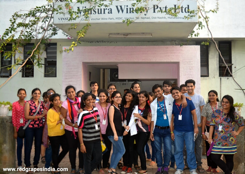Wine tour for VES college Mumbai organized by Red Grapes at Wine Information Center, Wine Park