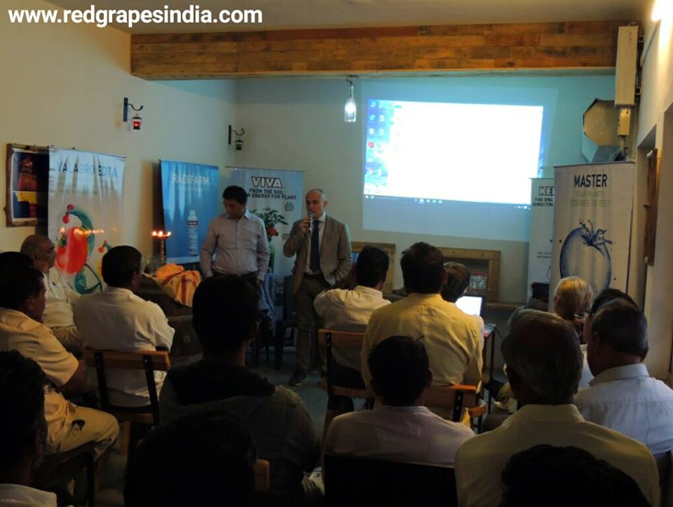 Sri biotech and Valagro EDTA seminar for grape growers at Wine information center by Red grapes at wine park, nashik, maharashtra, India