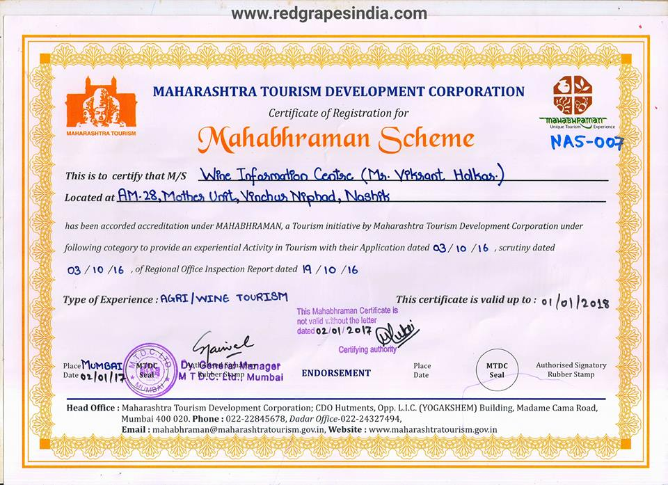 Certificate from MTDC for Mahabhraman scheme to Wine information Center by Red Grapes from Tourism Minister Mr. Jaikumar Rawal to Mr. Vikrant Holkar