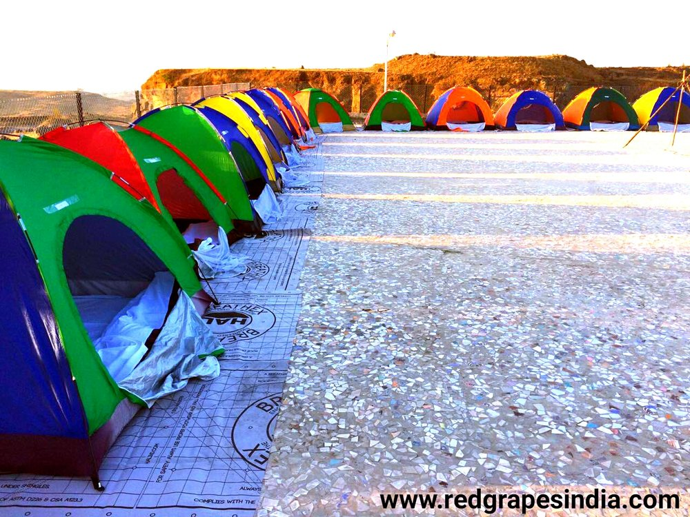 Camping tents on terrace at Wine information center, wine park, nashik