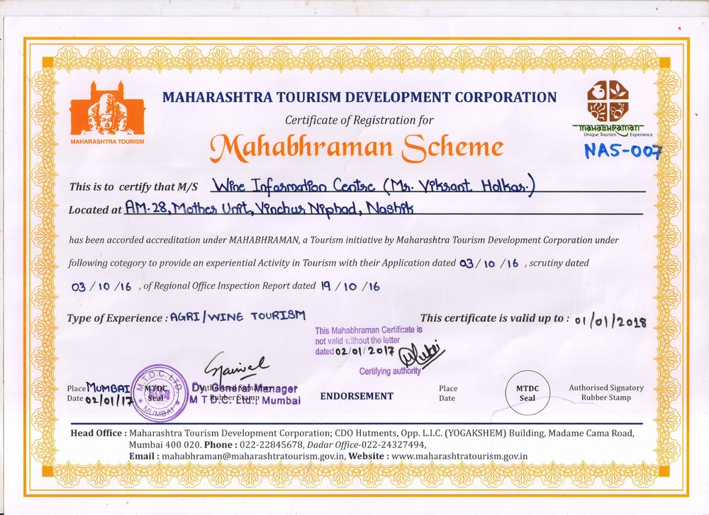 MTDC Mahabhraman scheme certificate granted to Wine information center by Red Grapes (mr. Vikrant Holkar) wine park, Nashik.