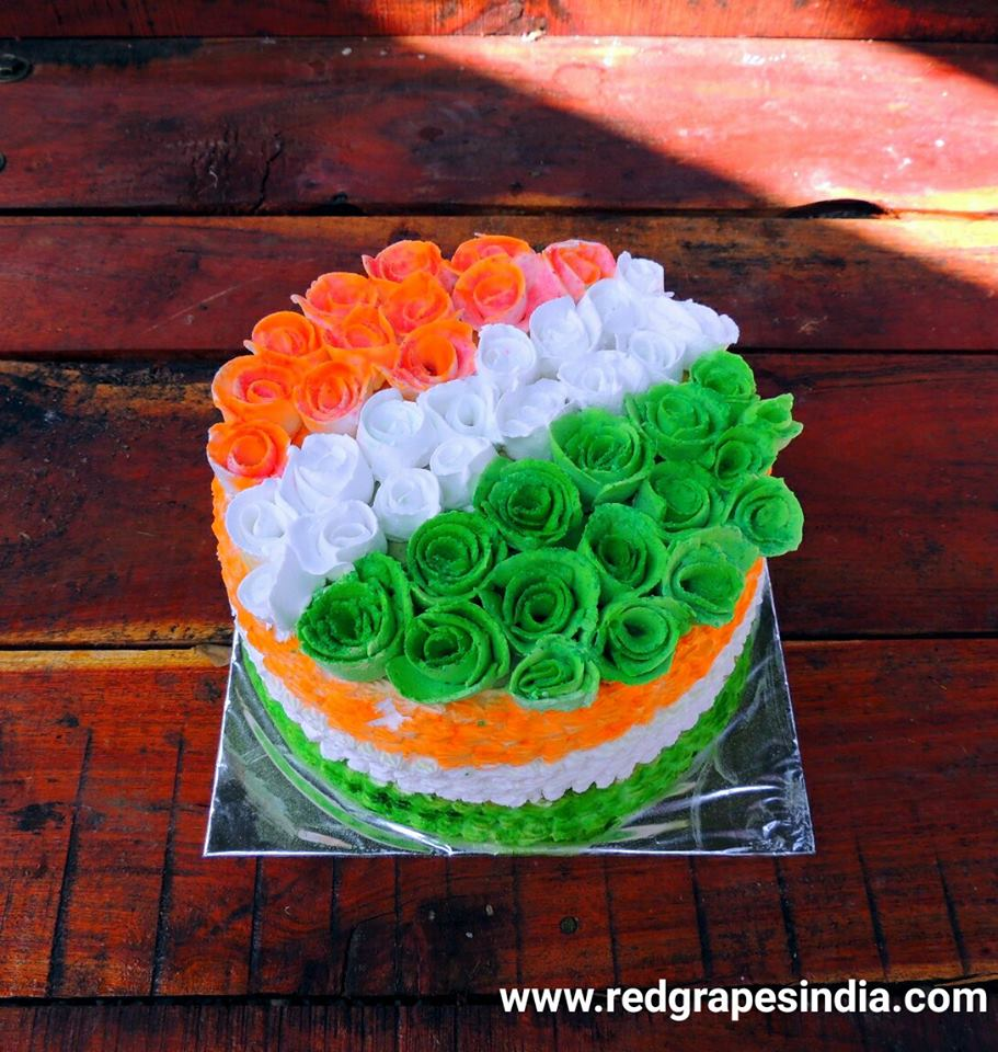 Indian tri color cake on 26th Jan Republic day celebration at Wine information center by Red Grapes at Wine park, Vinchur, Nashik, Maharashtra, India