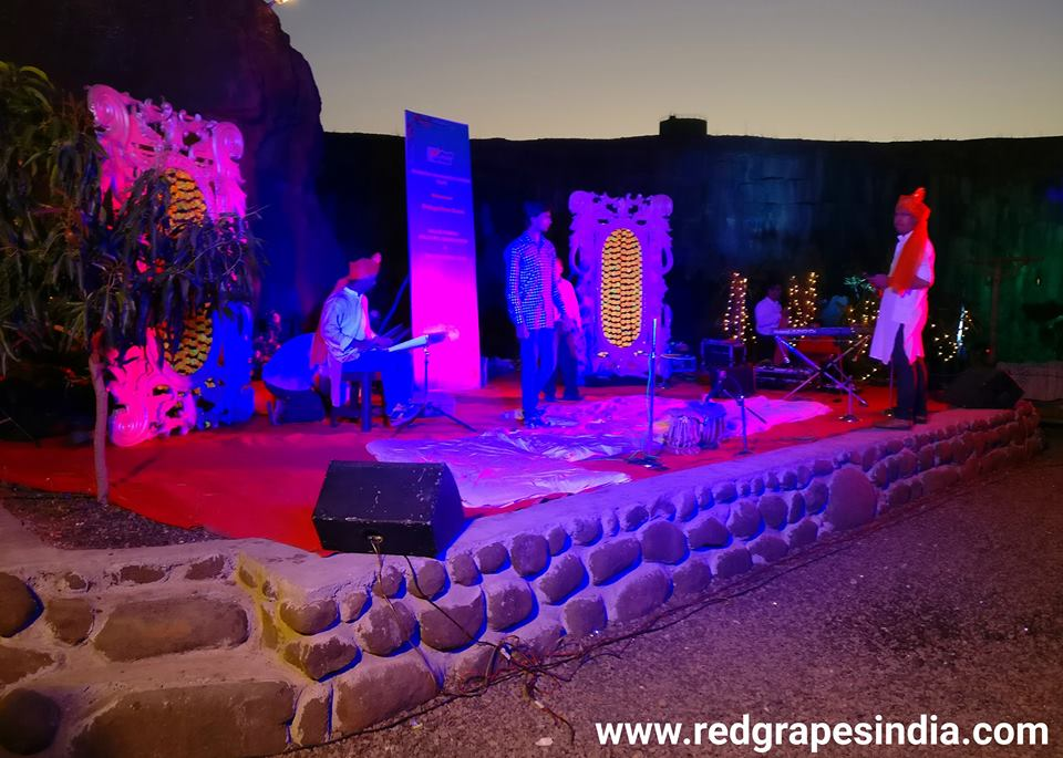 HAL (Hindustan Aeronotical Limited) cultural event at Wine information center by Red Grapes at wine park, vinchur, Nashik. stage