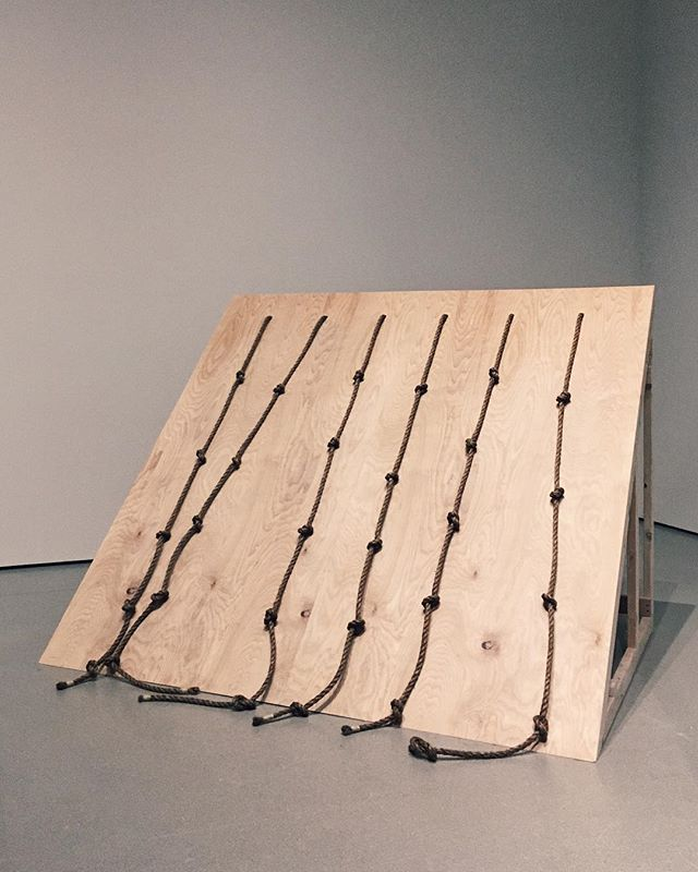 Simone Forti, Slant Wood, 1961. Performance with plywood and rope; three or four performers use ropes attached to the inclined plane to navigate around one another, moving up and down and side to side. One of the artist's most evocative artworks included in MoMA's group show Judson Dance Theater: The Work Is Never Done. Forti's Dance Constructions will be activated by performers throughout the duration of the exhibition, don't miss this chance to fully experience these performative sculptures, which were forerunners to the seminal Judson Dance Theater. — @themuseumofmodernart #moma #judsondancetheater #themuseumofmodernart #simoneforti #danceconstructions #sculpture #performance #contemporaryart #performanceart #contemporarydance #avantgarde #museumshow #installationview #groupshow #newtorkart #femaleartist #womenartists #artnet