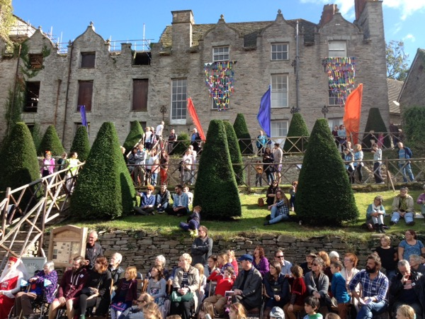 Watching Henry V at Hay Castle by Hay Theatre Company during Hay History Weekend 2015