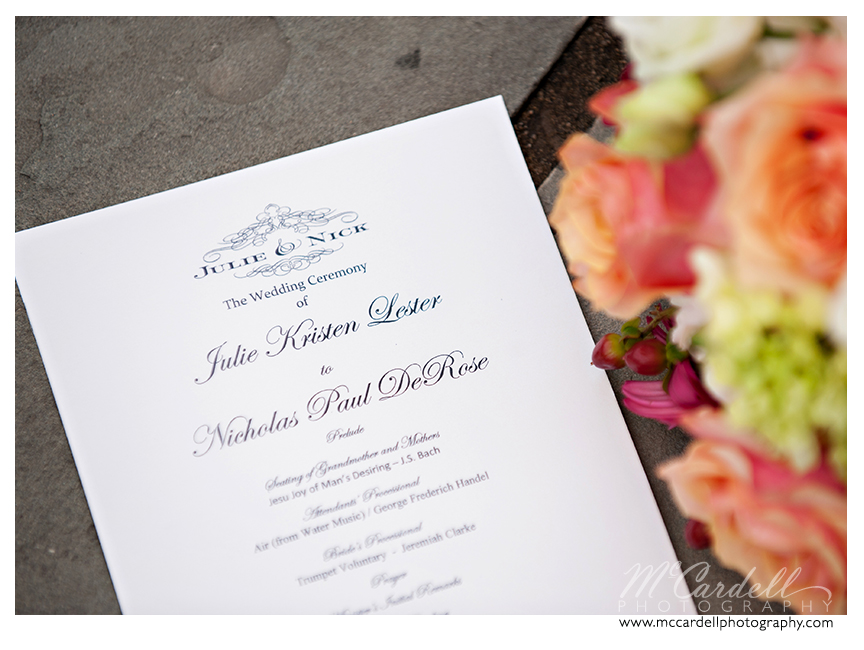 Teal scripted invitations at Starmount Country Club wedding in Greensboro, North Carolina. Images courtesy of McCardell Photography, a Greensboro, North Carolina Wedding Photographer.
