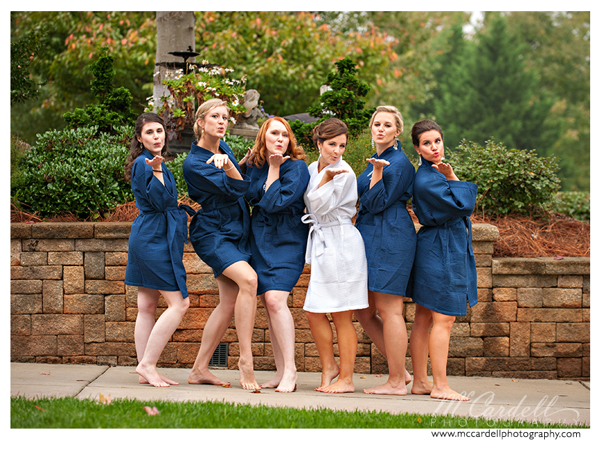 Bridesmaids pose in teal robes inGreensboro, North Carolina. Images courtesy of McCardell Photography, a Greensboro, North Carolina Wedding Photographer.