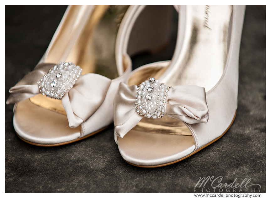 Beautiful ivory shoes to go with the bride's ivory gown in Greensboro, North Carolina. Images courtesy of McCardell Photography, a Greensboro, North Carolina Wedding Photographer.