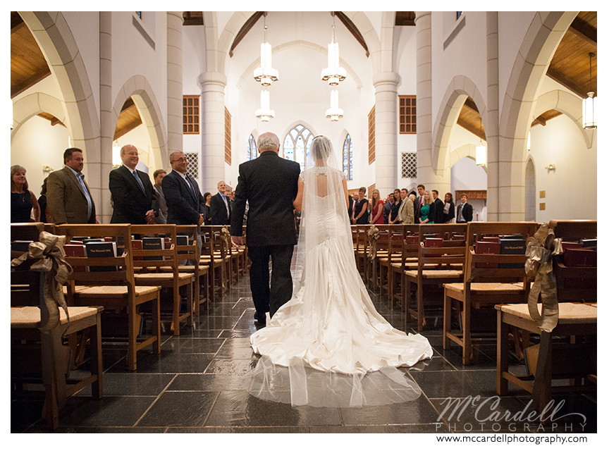 Ceremony held at Phillip's Chapel at Canterbury School in Greensboro, North Carolina. Images courtesy of McCardell Photography, a Greensboro, North Carolina Wedding Photographer.