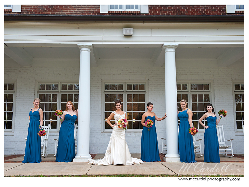 Teal floor-length chiffon gowns at this Starmount Country Club wedding in Greensboro, North Carolina. Images courtesy of McCardell Photography, a Greensboro, North Carolina Wedding Photographer.