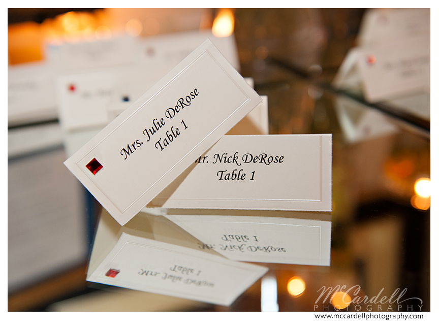 Printed place settings on folded cards at this Starmount Country Club wedding in Greensboro, North Carolina. Images courtesy of McCardell Photography, a Greensboro, North Carolina Wedding Photographer.