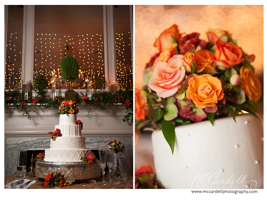 Ivory wedding cake with orange and pink rose accents. Starmount Country Club wedding in Greensboro, North Carolina. Images courtesy of McCardell Photography, a Greensboro, North Carolina Wedding Photographer.