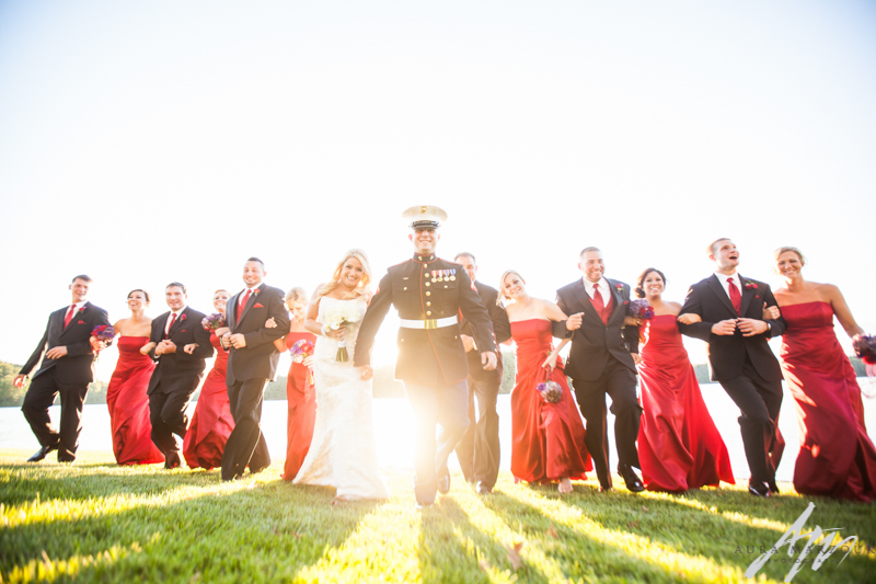 Red Bella Collina military wedding in Stokesdale NC. Image by Aura Marzouk Photography.