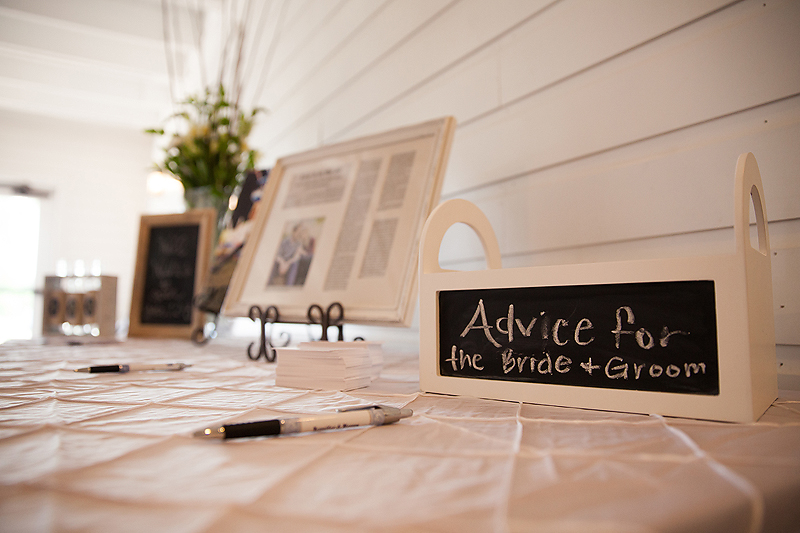 Guest sign-in table at the Winmock at Kinderton in Bermuda Run, a TriadWeddings venue. Image by Elly's Photography.