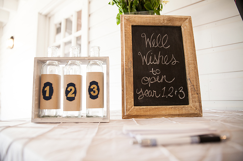 Chalk board accents on the guest sign in table at the Winmock at Kindertonin Bermuda Run, a TriadWeddings venue. Image by Elly's Photography.