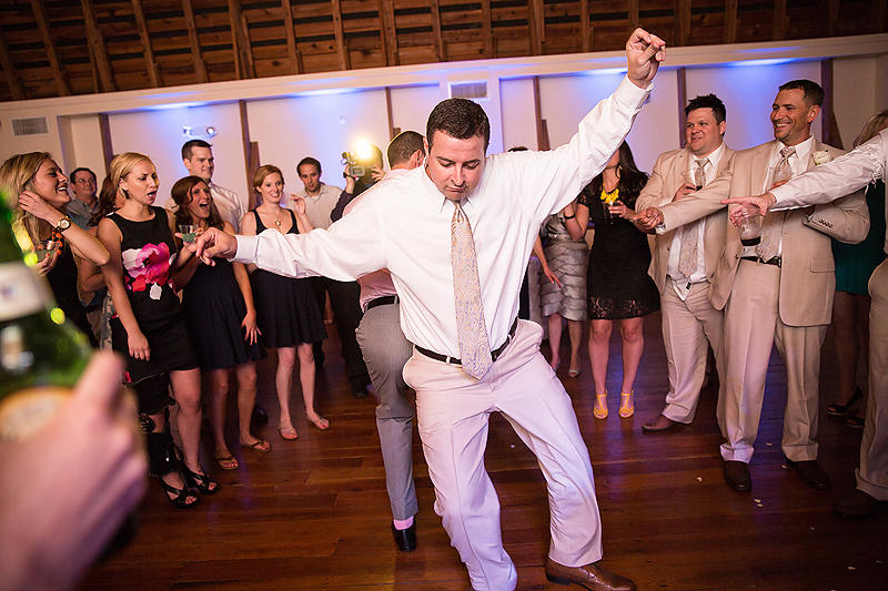 DJ Phillingood keeps the party going at this Winmock at Kinderton wedding in Bermuda Run, A TriadWeddings vendor. Image by Elly's Photography.