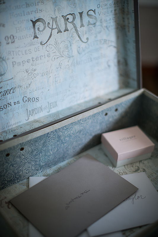 Lovely Paris-themed card box at this Winmock at Kinderton wedding in Bermuda Run, A TriadWeddings vendor. Image by Elly's Photography.