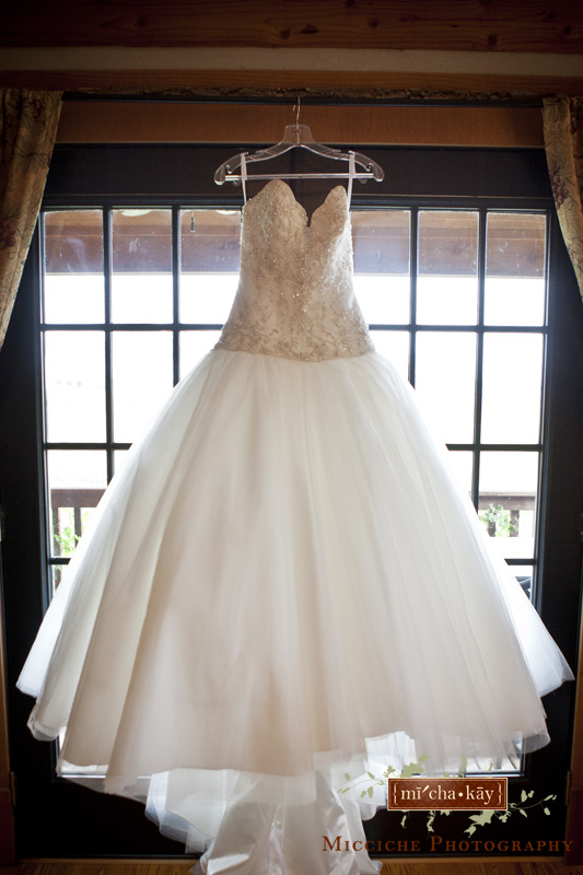 Bride's dress hangs in the window of  Autumn Creek Vineyards, a TriadWeddings venue in Mayodan, NC. Image by Mike Micciche Photography, TriadWeddings photographer in Greensboro.