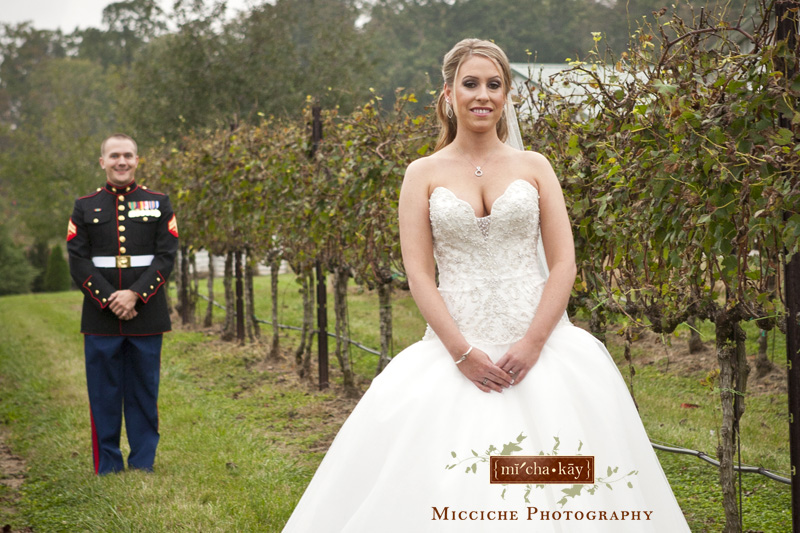 The first look at this military wedding at Autumn Creek Vineyards, a TriadWeddings venue in Mayodan, NC. Image by Mike Micciche Photography, TriadWeddings photographer in Greensboro.