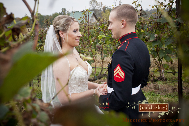 The first look at a military wedding at Autumn Creek Vineyards, a TriadWeddings venue in Mayodan, NC. Image by Mike Micciche Photography, TriadWeddings photographer in Greensboro.