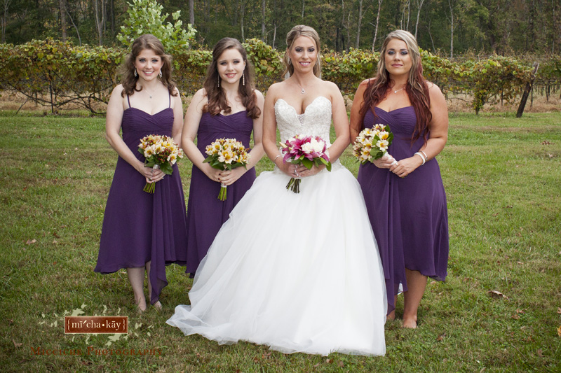 Purple bridesmaid dresses at this Autumn Creek Vineyard military wedding, a TriadWeddings venue in Mayodan, NC. Image by Mike Micciche Photography, TriadWeddings photographer in Greensboro.