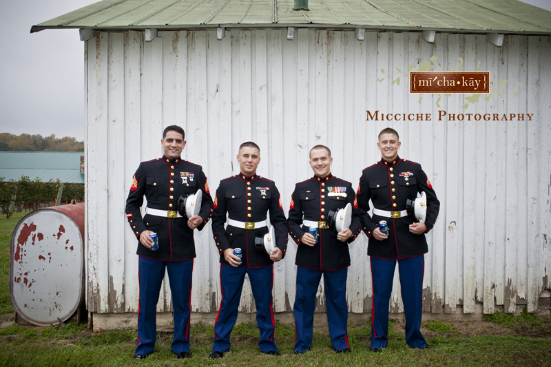 Groomsmen in military attire at this military wedding at Autumn Creek Vineyards, a TriadWeddings venue in Mayodan, NC. Image by Mike Micciche Photography, TriadWeddings photographer in Greensboro.