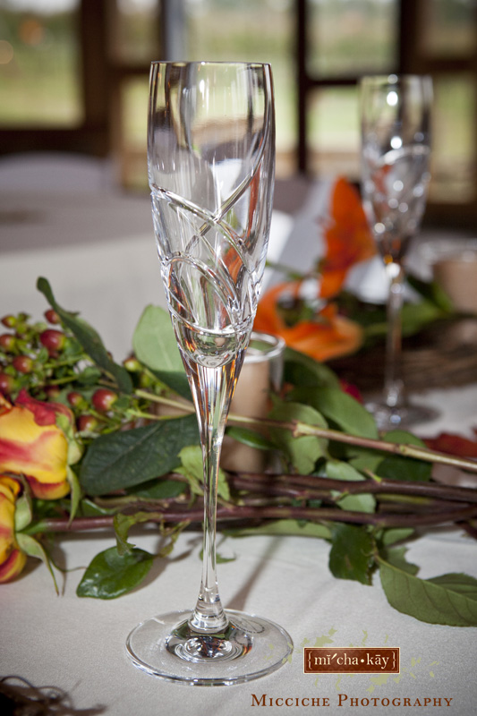Long stemmed champagne glass for the bride and groom at their military wedding at Autumn Creek Vineyards, a TriadWeddings venue in Mayodan, NC. Image by Mike Micciche Photography, TriadWeddings photographer in Greensboro.