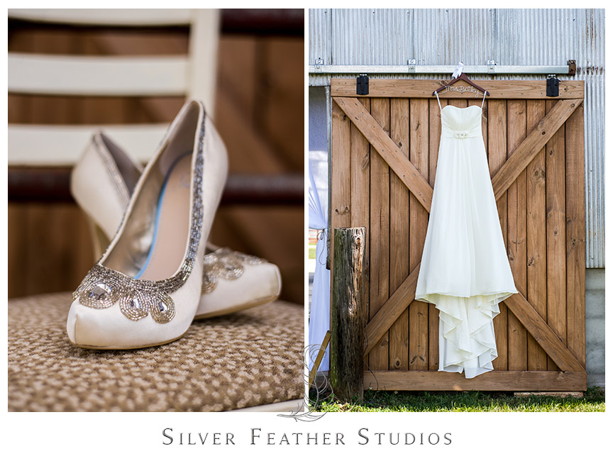 Bridal shoes and wedding gown displayed outside at this Starlight Meadow wedding, a TriadWeddings approved venue. © Image by Silver Feather Studios in Burlington, NC