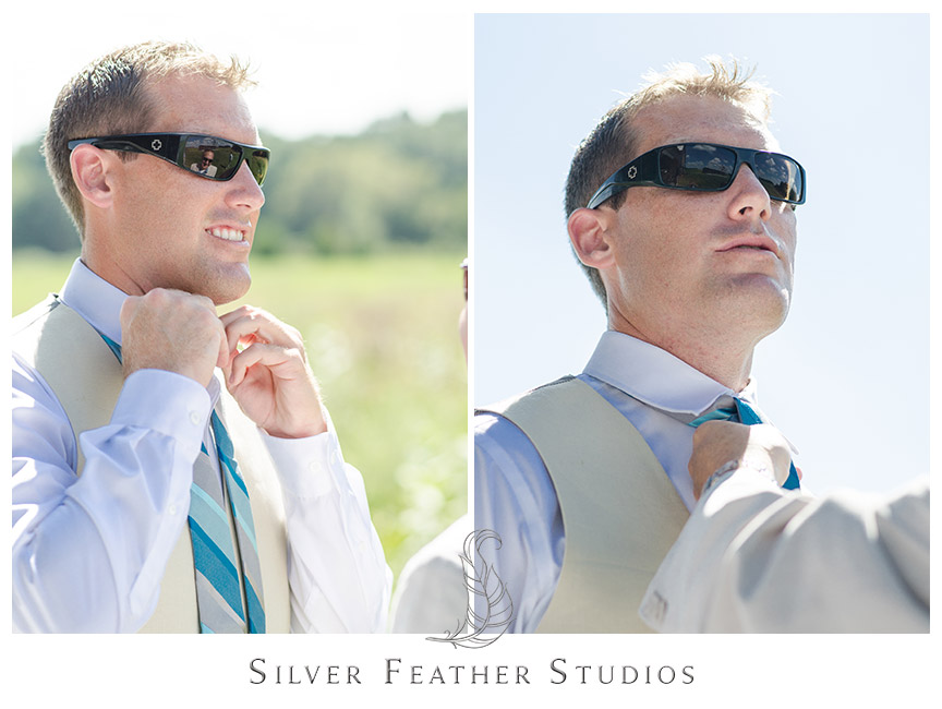 Groom wears a beige vest with a blue and grey striped tie at this Starlight Meadow wedding, an approved TriadWeddings venue. © Silver Feather Studios, North Carolina Wedding Photography and Videography