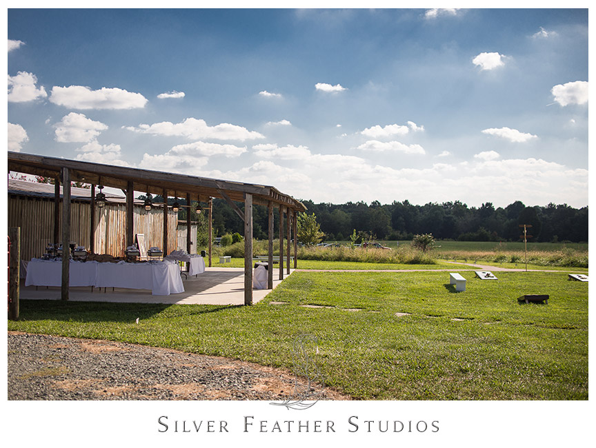 The buffet and bar at this Starlight Meadow wedding, an approved TriadWeddings venue. © Silver Feather Studios, North Carolina Wedding Photography and Videography