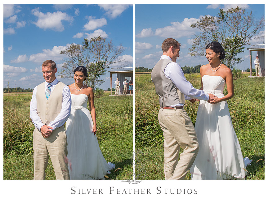 Bride and groom have their first look at their Starlight Meadow wedding, an approved TriadWeddings venue. © Silver Feather Studios, North Carolina Wedding Photography and Videography