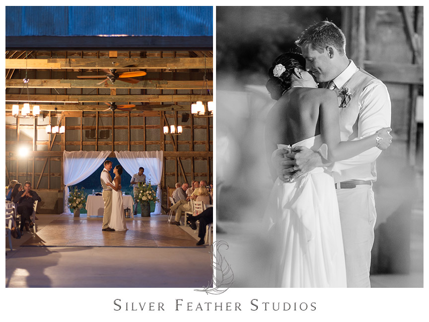 The first dance inside Starlight Meadow, a TriadWeddings venue.. © Image by Silver Feather Studios, Burlington, NC Wedding Photography and Videography