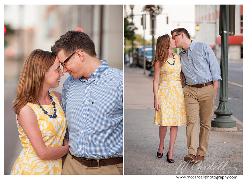 Engagement session in the Triad by downtown Greensboro engagement by TriadWeddings photographer McCardell Photography, a wedding photographer in Greensboro.