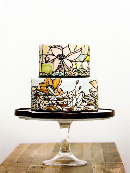 Two tier circle stained glass cake by Maxie B's, a TriadWeddings Magazine vendor.