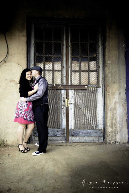 Fun engagement session in downtown Winston Salem by Human Graphics Photography, a TriadWeddings vendor.