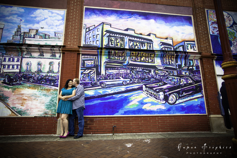 Fun engagement session in downtown Winston Salem by Human Graphics Photography, a TriadWeddings vendor