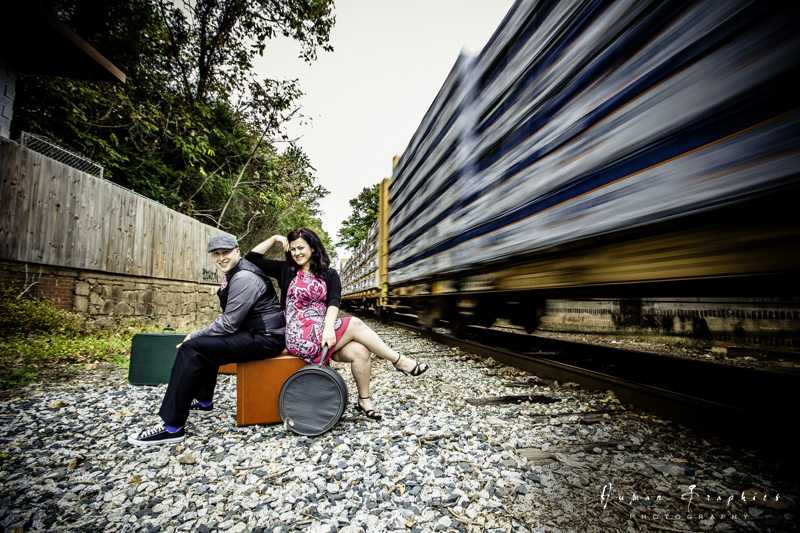 Winston Salem engagement session on the train tracks. Images by Human Graphics Photography, a TriadWeddings vendor.