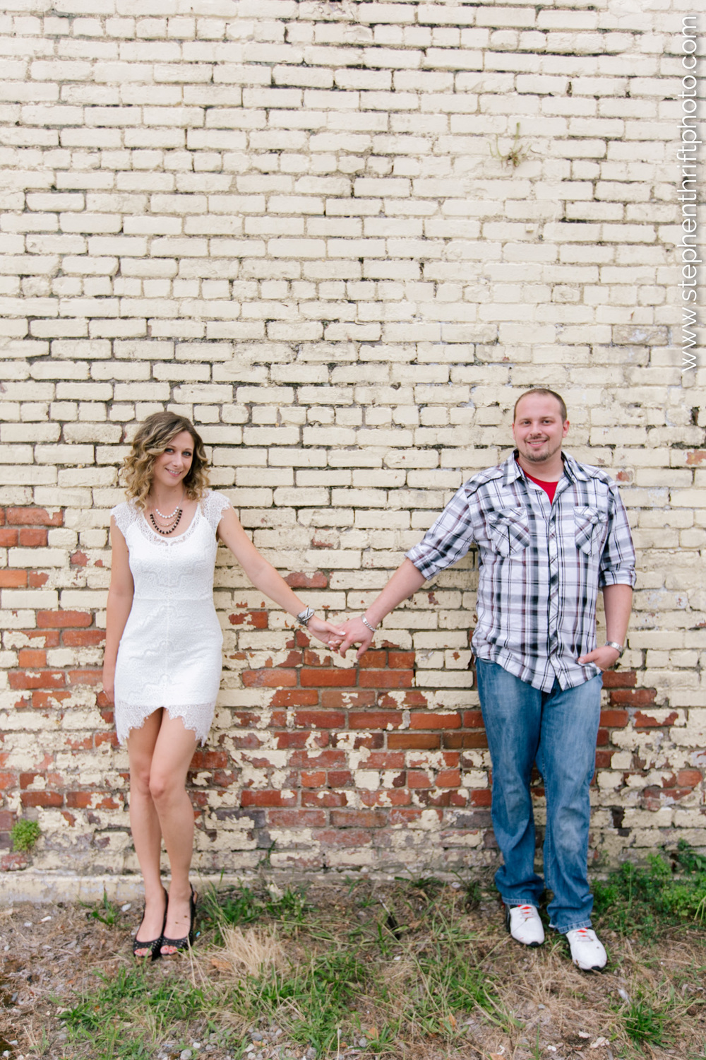 Whitney and Jason's urban engagement session photographed by Stephen Thrift in the Triad.