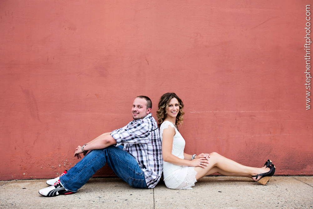 Downtown Greensboro engagement photography by Stephen Thrift.