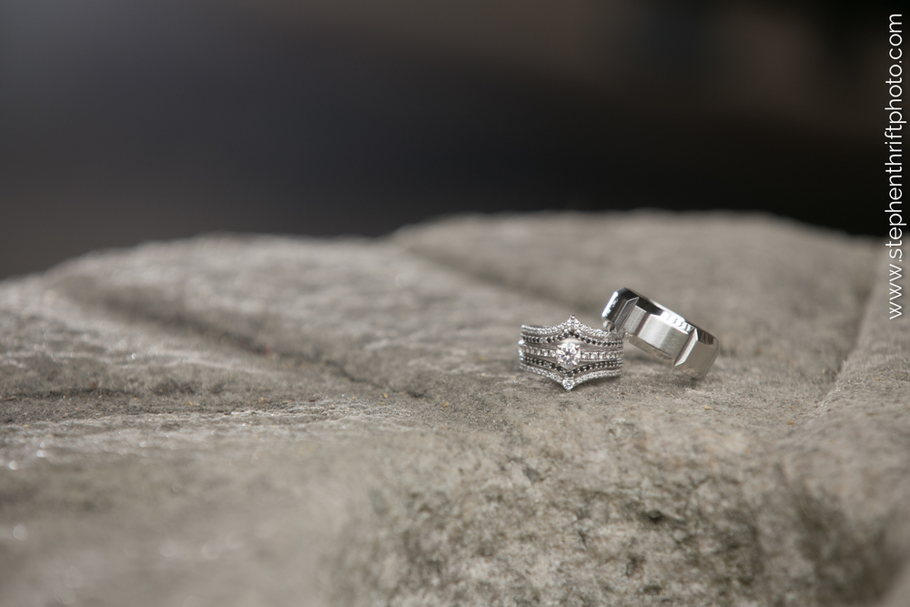 Beautiful macro shot of engagement rings by Greensboro wedding photographer, Stephen Thrift Photography.