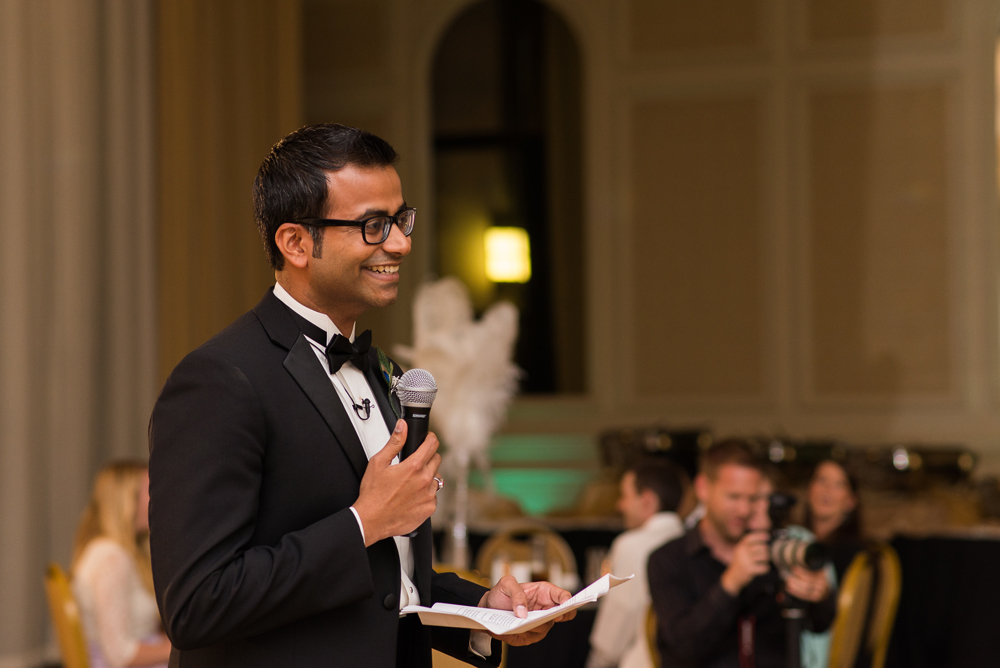 Image of best man giving toasts courtesy of Silver Feather Studios, a TriadWeddings vendor.