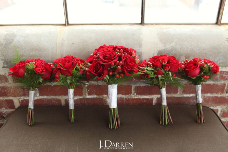 Grace's Flower shop, red rose bouquets. Photo by J. Darren Photography.