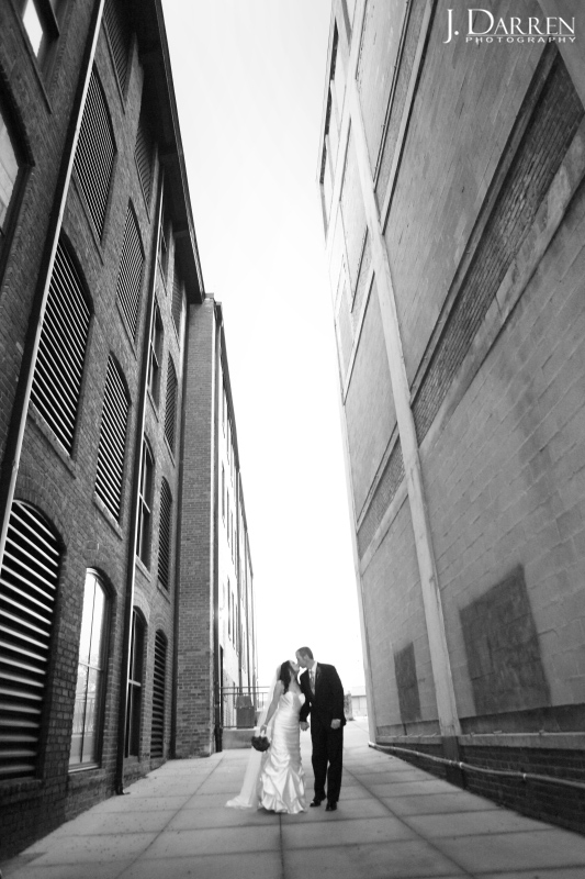 Outdoor urban photograph, bride and groom, High Point NC.
