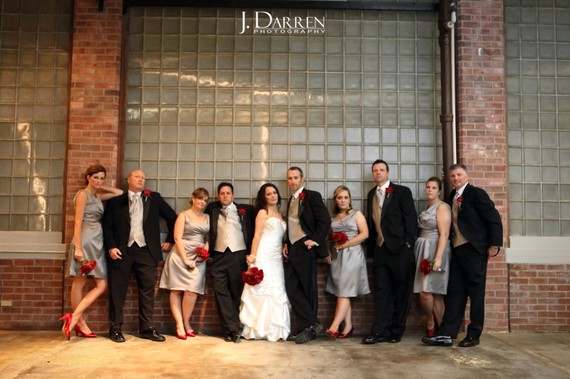 Red, silver and black wedding at the Lofts at Union Square by J. Darren Photography.