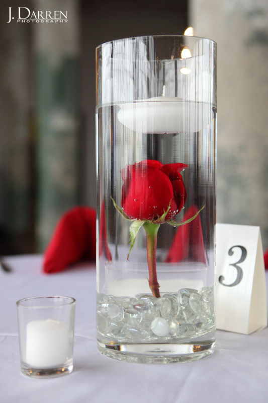 centerpiece idea, rose and candle in a vase, Lofts at Union Square.