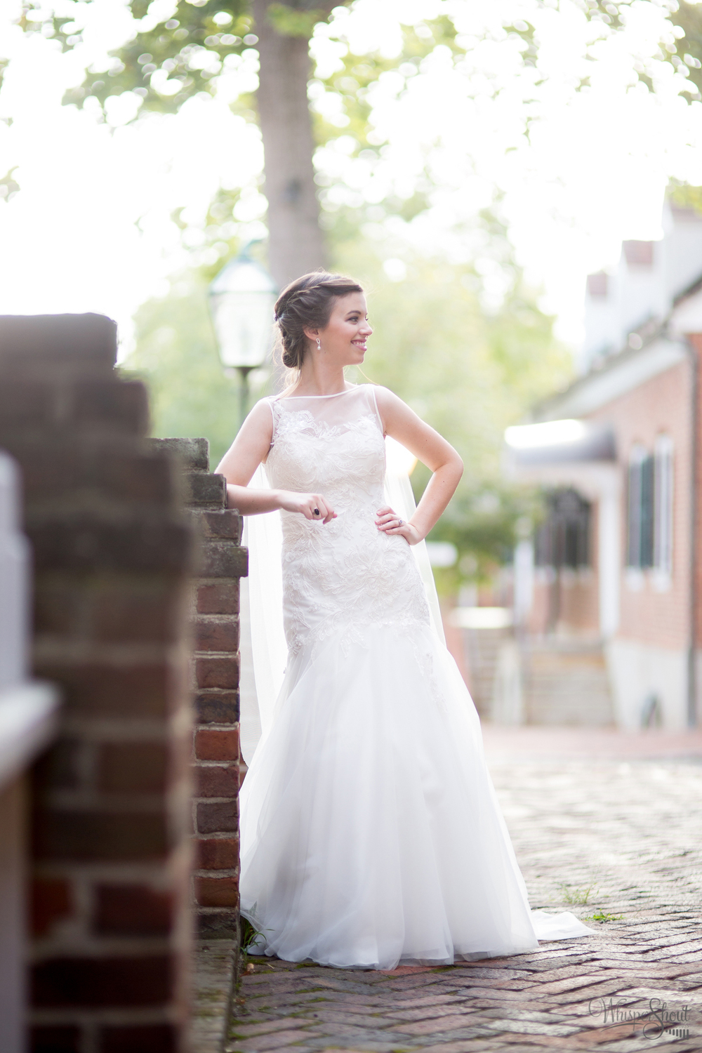 Bride in boatneck wedding gown at Old Salem. Image by WhisperShout Weddings, a TriadWeddings photographer.