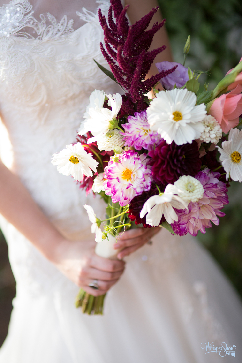 bridal bouquet; purple and white flowers; WhisperShout Wedding Photography