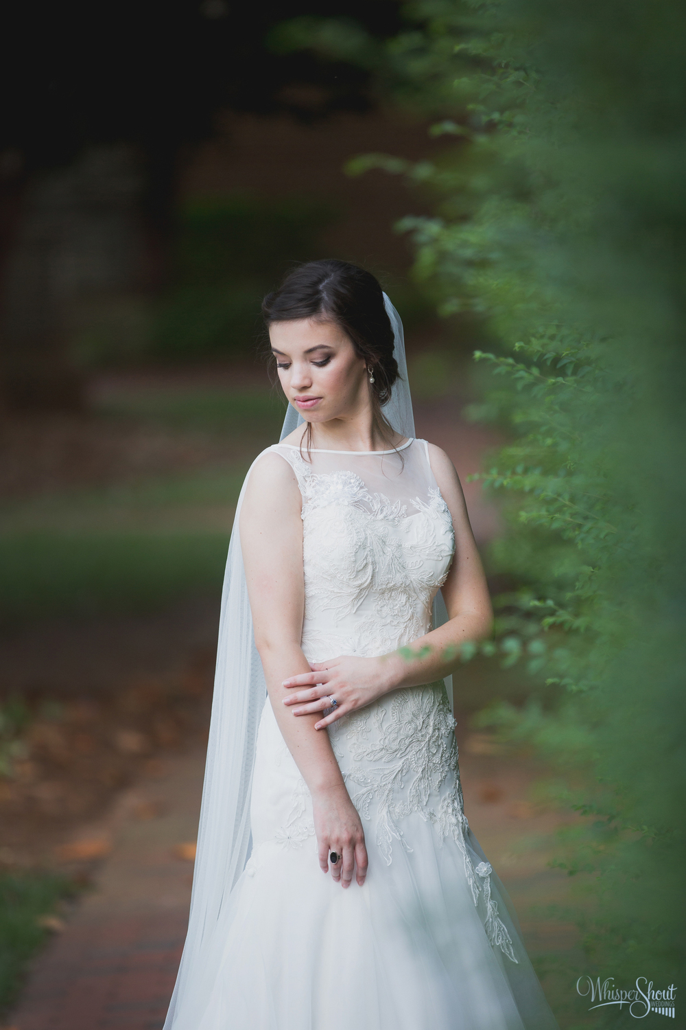 bridal portraits; boatneck drop waist weddinggown with cathedral veil; WhisperShout Weddings