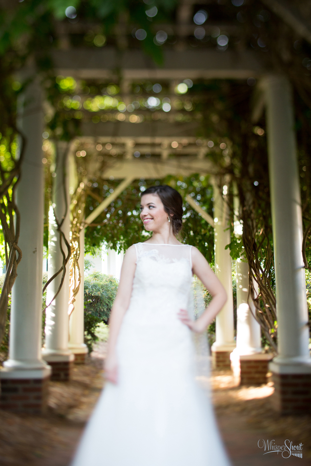 WhisperShout Weddings;north carolina bridal session; sleeveless drop waist bridal gown with cathedral length veil.